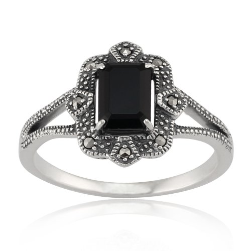 Art Deco Marcasite Ring - 925 Sterling Silver Art Deco Black Spinel & Marcasite Ring
