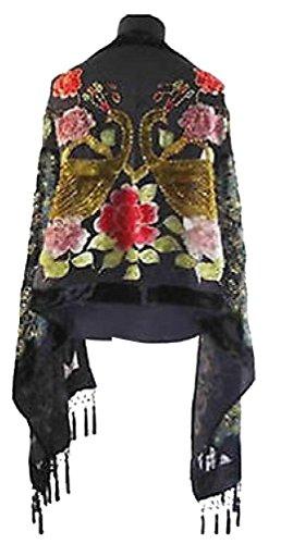 Velvet Beaded Scarf (Fengbay Style Peacock Silk Long Scarf Wraps Velvet Black Beaded)