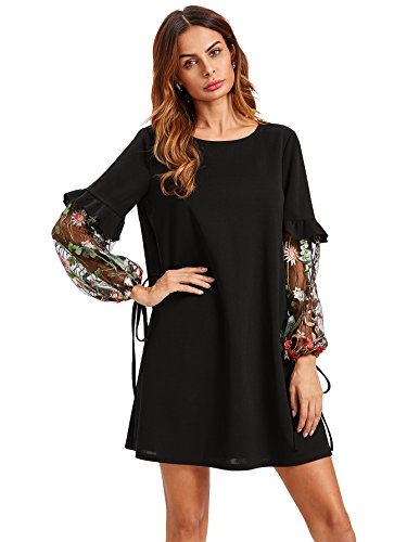 Dress Shift Black Embroidered (DIDK Women's Tunic Dress With Embroidered Floral Mesh Bishop Sleeve Black L)