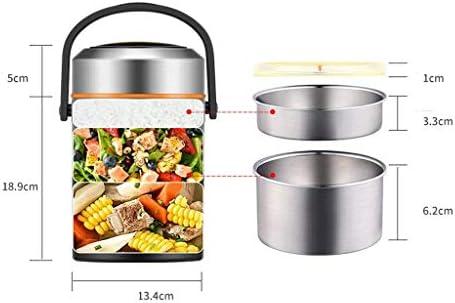 多層ステンレス鋼断熱お弁当箱1.8リットル真空ポータブル大容量層状断熱食器は持ち運びに便利で、オフィスワーカーや学生に適しています