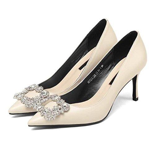 Frauen Sexy Spitz Stilettos High Heel Pumps Court Schuhe Mit Strass Office Work Heels Schuhe Beige