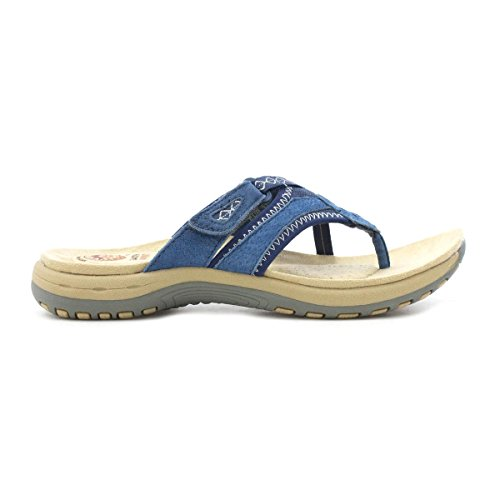 Jord Ande Kvinna Blå Läder Tå Post Sandal Blå