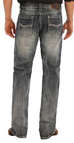 Rock & Roll Denim Men's Relaxed Fit Double Barrel Straight Leg Mid Wash Western Jeans (33x34) Navy