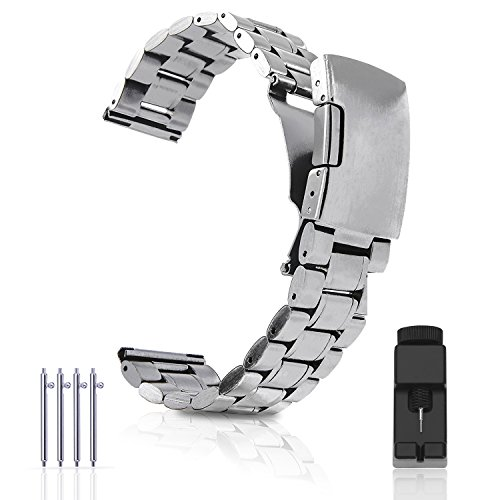 Vetoo 304 Stainless Steel 22mm Watch Bands for Moto 360 2nd Gen 46mm,Pebble Time,Time Steel,Classic,ASUS ZenWatch WI500Q,WI501Q,Samsung Gear 2 R380,Neo R381,Live R382,LG G Watch W100,Urbane,R(Silver)