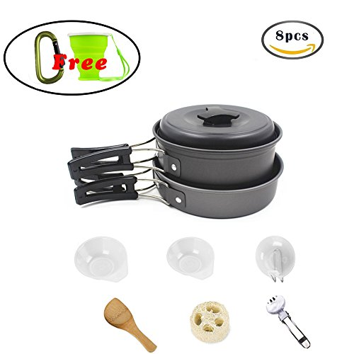 Dproptel 8pcs Lightweight Outdoor Camping Hiking Cookware Backpacking Cooking Picnic Bowl Pot Pan Set + Free Gift 10oz Foldable Camping Cup +Backpack Hook