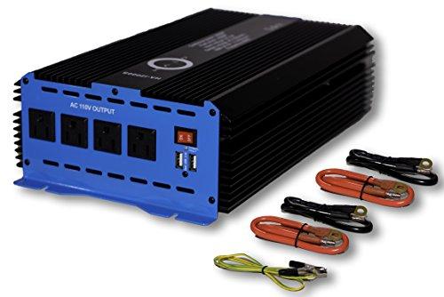 Watt Power Inverter 12V DC to 110V AC 4 Outlets and 2 USB Ports ()