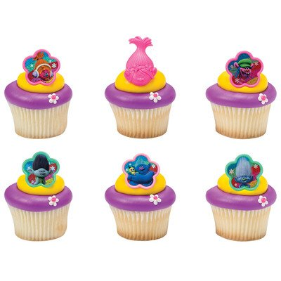 Trolls True Colors Cupcake Rings Assorted - Set of 12