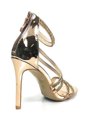 Voor Altijd Link Damesmode Fonkelende Strass Hoge Hak Sandalen Curious-23 Rose-goud