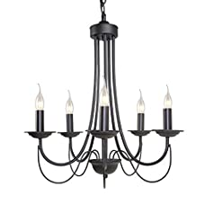 LNC 5-light Vintage Chandelier Black Iron Industrial chandeliers Light