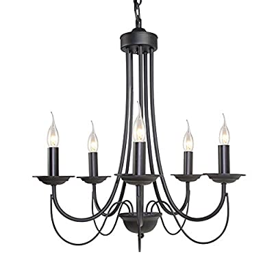 LNC 5-light Vintage Chandelier Black Iron Industrial chandeliers Light
