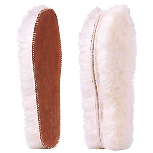 Ailaka Women's Premium Thick Sheepskin Insoles/Inserts, Warm Fluffy Fleece Wool Replacement Insoles for Shoes Boots Slippers (Boot Sheepskin Ankle Slippers)