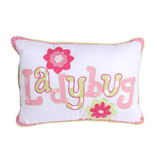 Cozy Line Home Fashions Cute Letters Throw Pillow, Embroidered Ladybug Print Pattern Stuffed Toy Doll Decorative Pillow for Kids, Girls (Letter, Decor Pillow - 1 Piece) -