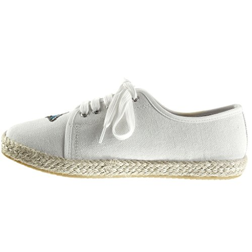 Angkorly Women's Fashion Shoes Espadrilles Trainers - Flowers - Embroidered Flat Heel 1.5 cm White 95JbKS6OAv