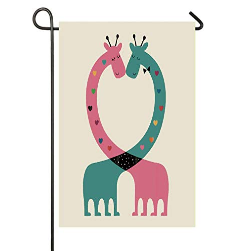 HOOSUNFlagrbfa Cartoon Giraffe Intertwine Heart-Shaped Romance Garden Flag Welcome Decorative Flags for Party Yard and Home Outdoor Decor ()