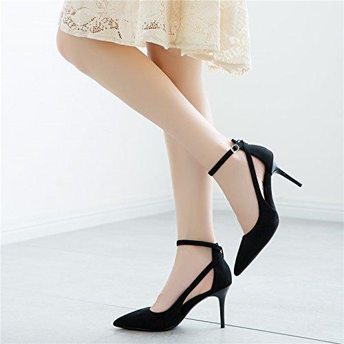 Chaussures Talons Souligné unie Sandales Creux Boucle Couleur Chaussures Talon Femme Femmes D'Été Un Fine A Mot SHOESHAOGE POwgq