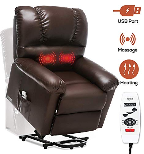 ERGOREAL Electric Lift Chair for Elderly Heavy Duty Lift Recliner with Heat and Massage Power Lift Recliners Wide with USB Port and Side Pocket (Brown)