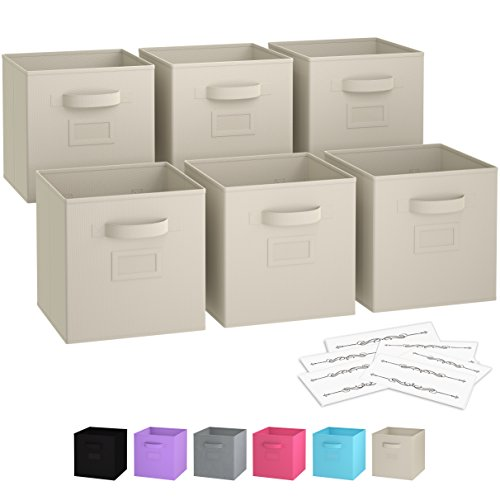 Royexe - Storage Cubes | [Set of 6] Foldable Fabric Bins | Features Dual Handles & Easy-to-read Label Window with 10 Label cards | Collapsible Organizer Storage Baskets| Folding Closet Cube. (Beige) (Set Folding Storage Bins)