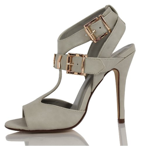 Delicious Womens Arroyo Faux Leather Open Toe T-Strap Buckle Ankle Strap, Dove Grey, 9 M US Grey