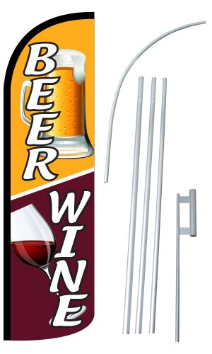 """NEOPlex – """"Beer/Wine 12-Foot Super Swooper Feather Flag with Heavy-Duty 15-F"""