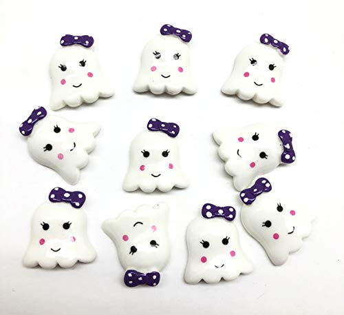 PEPPERLONELY 10PC Halloween Cute Ghost with Purple Bow Resin Flatback Cabochon DIY Flatback Scrapbooking Embellishment Decoration Craft Making, 25 x 28mm -