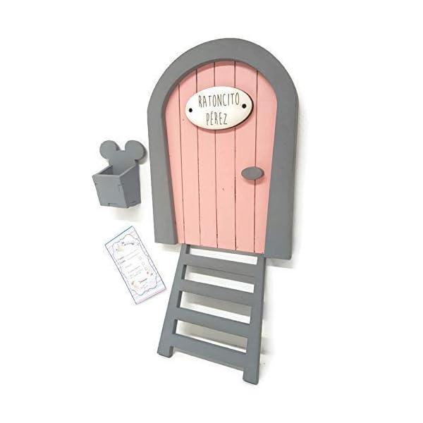 Puerta Ratoncito Pérez rosa,con escalera,buzón y certificado 3
