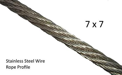 Zoostliss 100Ft Stainless Steel Aircraft Wire Rope 1/8'' for Deck Cable Railing Kit, 7x7 T316 Marin Grade by Zoostliss (Image #4)