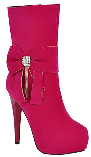 women new bow winter and Autumn Red heeled high boots Martin ultra shoes fEv0xq