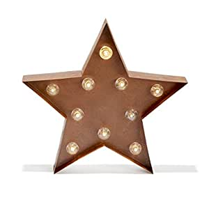 Vintage Lighted Star Marquee Battery Light with 10 Warm White LEDs, Rustic Metal, Timer Option Available, Batteries Included