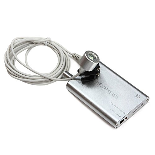 Zinnor (Shipping from US) Portable LED Head Light Lamp for Dental Lab Surgical Medical Binocular Loupe - Silver