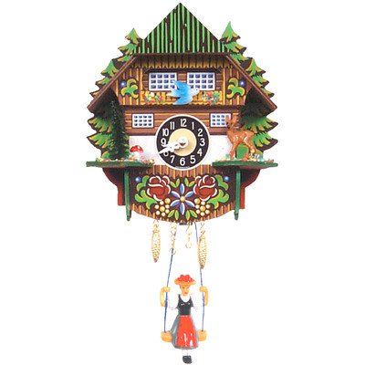 Novelty Cuckoo Clocks - Clock with Trees and Swinging Girl