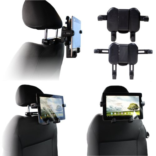 Navitech portable DVD player / Netbooks / Notebooks / Tablet pc & Laptop in Car Headrest / Back Seat Black Expandable Firm Grip Mount Cradle For The Compaq Mini 730EA, Asus EEE PC S101 , Asus EeePC 1005HA , Asus EEE PC netbook 700, 701, Asus EEE PC ne