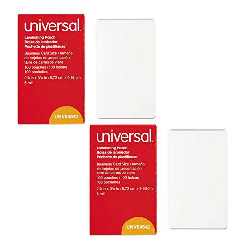(Universal UNV84642 100 per Box Clear Laminating Pouches, 2 1/4-Inch x 3 3/4-Inch - 2 pack)