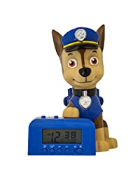 BulbBotz Paw Patrol 2021302 Chase Kids Night Light Alarm Clock with Characterised Sound | Blue/Brown | Plastic | 5.5 inches Tall | LCD Display | boy Girl | Official