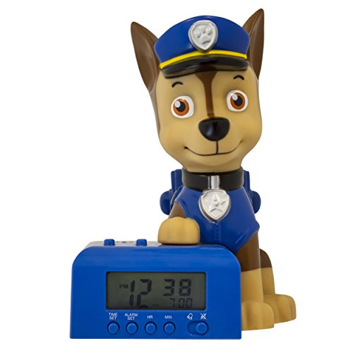 - Bulb Botz Paw Patrol 2021302 Chase Kids Night Light Alarm Clock with Characterised Sound, 5.5 inches Tall, Blue/Brown