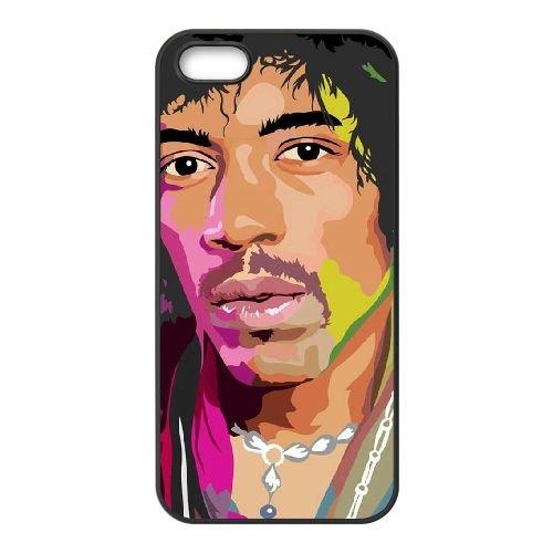 Jimi Hendrix 003 coque iPhone 5 5S cellulaire cas coque de téléphone cas téléphone cellulaire noir couvercle EOKXLLNCD24825