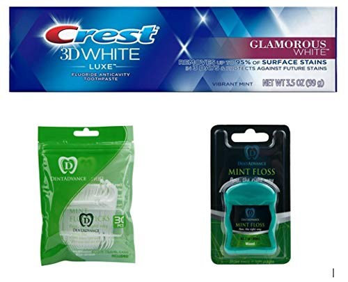 Premium dental Kit, Crest Toothpaste, DentAdvance Premium Mint Floss, Waxed, Premium Angled Mint Floss Picks, Includes travel case, Mint -