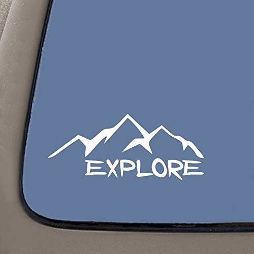Vehicle Vinyl Decals - CMI NI656 Explore Mountains Decal | 5.5-Inches Wide | Premium Quality White Vinyl Decal