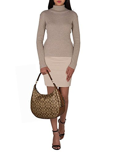 Large Authentic Monogram Elegant SALE Shoulder Bag New Hobo in Signature COACH Saddle Khaki FxnRqX
