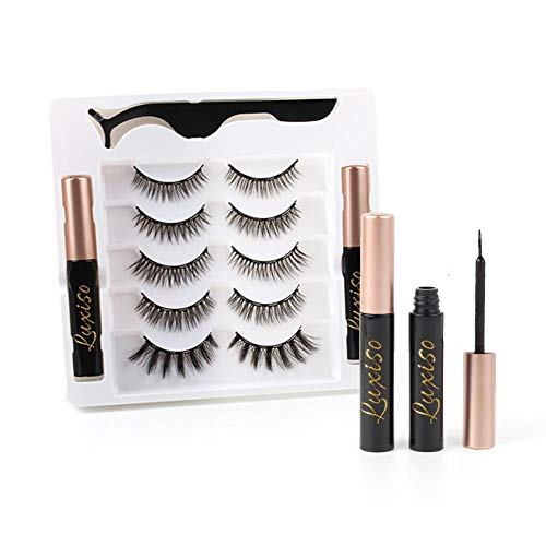 Luxiso Magnetic Eyelashes With Eyeliner, Light-Weight False Magnetic Eyelashes in 5 Pairs-No Glue Needed