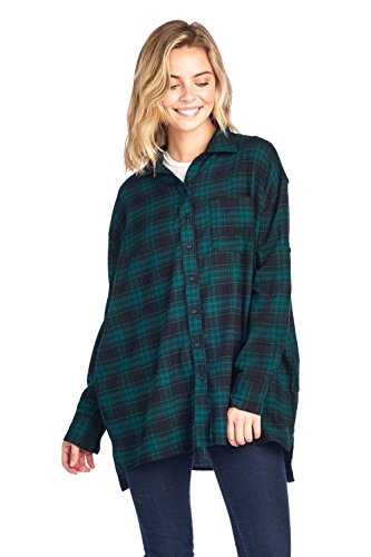 ICONICC Women's Plaid Oversize Button Down Top with Front Pocket (K1001_GRN_S) ()