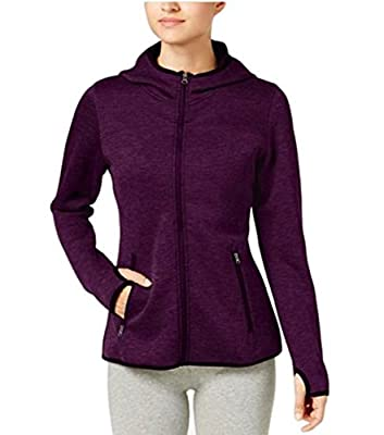 32 Degrees Women's Fleece Tech Full-Zip Sweatshirt (Small, Heather Violet)