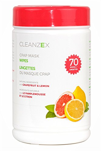 CLEANZEX 100% Cotton CPAP Mask Wet Wipes with Grapefruit Lemon Scent, 70 Wipes - Grapefruit Mask