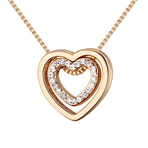 Swarovski Necklace Gold Plated - Showfay Love Heart Necklace - Crystal from Swarovski Rose Gold Plated Pendant Necklace for Women Mom Gift (gold)