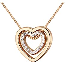 Double Love Heart Necklace - Crystal From Swarovski Rose Gold Plated Crystal Pendant Necklace For Women Mom Gift