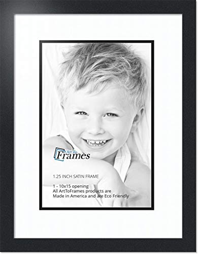 - ArtToFrames Collage Photo Frame Double Mat with 1 - 10x15 Openings and Satin Black Frame