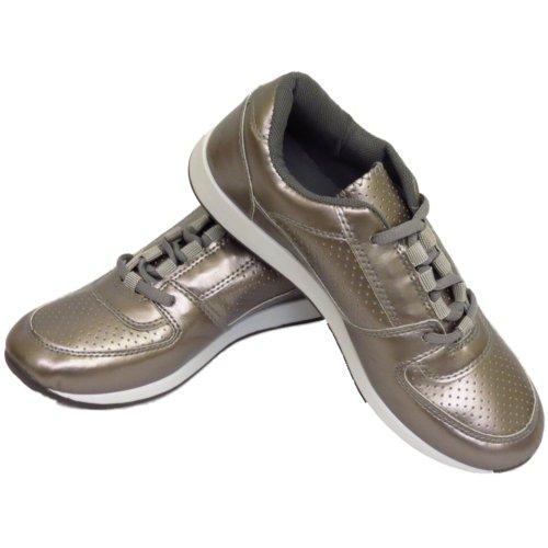 Damen Mädchen Silber Freizeit Fitnessstudio Sport Laufschuhe Schuhe