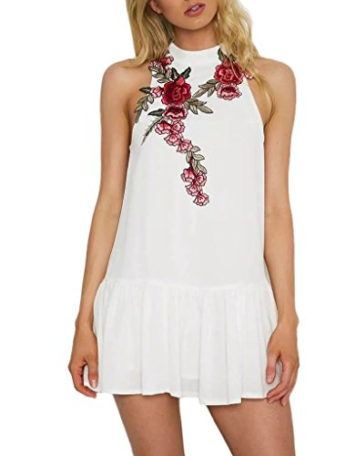 Luluka Women's High Neck Floral Embroidery Party Mini Dress US Medium White (Sexy Womens Fancy Dress)
