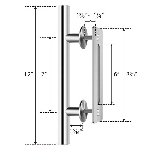SMARTSTANDARD SHH0801STAINLESS Heavy Duty Large Rustic Flush and Pull Barn Door Handle, 12'', Stainless Steel, Simple and Easy to Install by SMARTSTANDARD (Image #4)