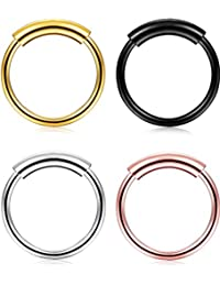 1-4 Pcs 22g 316L Surgical Steel Seamless Continuous Hoop Rings Nose Eyebrow Tragus Lip Ear Ring 8MM
