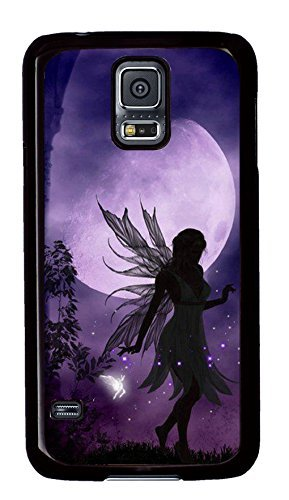 Case Shell for Samsung Galaxy S5 Covered with Moonlight Fairies,Customized Black Hard Plastic Cover Skin for Samsung Galaxy S5 - Samsung Skins Cell Phone